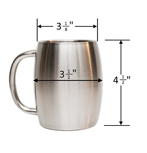 Stainless Steel Coffee Beer Tea Mugs - 14 Oz Double Walled Insulated - Set of 2 Avito - Best Value - BPA Free Healthy Choice - Shatterproof by Avito (Image #6)