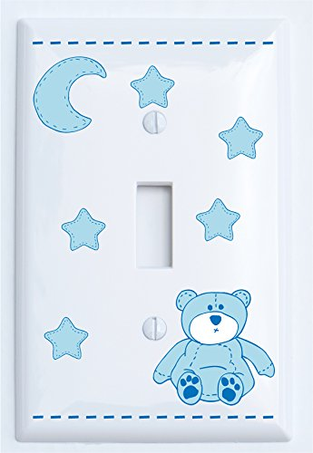 Blue Teddy Bear Light Switch Plate Single Toggle with Blue Moon and Stars / Teddy Bear Nursery Decor (Single Toggle) by Presto Light Switch Plate Covers