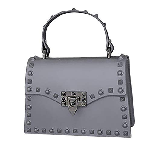 Messenger Bags for Women Thenlian Polish Rivet Jelly Bag Single Shoulder Messenger Bags(Free, Gray)