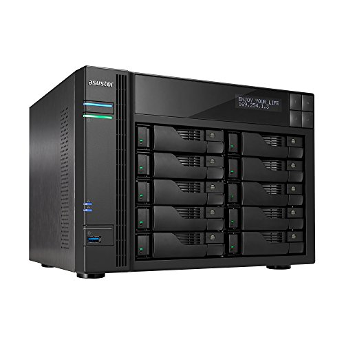 Asustor AS6210T | Network Attached Storage + Free exFAT License | 1.6GHz Quad-Core, 4GB RAM | Personal Private Cloud | Home or Business Data Media Server (10 Bay Diskless NAS) (Best Media Center Nas)