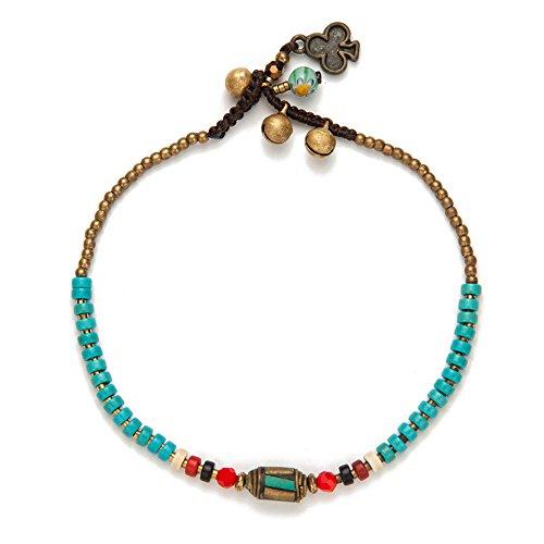 TOMLEE Handmade Nepal Stone Charm Beaded Chain 9.5