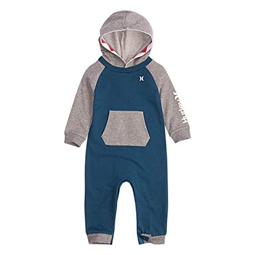 Hurley Baby Boys' Long Sleeve Hooded Coverall, Light Blue/Grey 18M]()