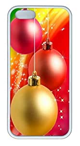 Christmas color balls TPU Silicone Case Cover for iPhone 5/5S White Thanksgiving Day gift