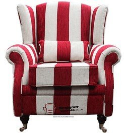 Astounding Wing Chair Fireside High Back Armchair Harrison Stripe Ruby Home Interior And Landscaping Dextoversignezvosmurscom
