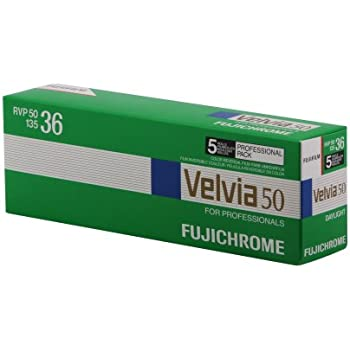 Fujifilm 16329173 Velvia 50 Color Slide Film ISO 50, 35mm, 5 Rolls of 36 Exposures (Green/Blue/White)