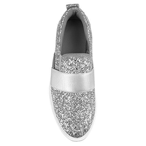 Brinley Co. Espadrilles À Lacets Glitter Femme Argent