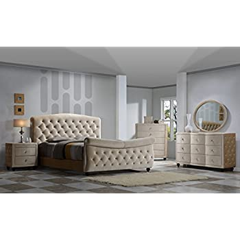diamond sleigh bedroom set king size 5 pc bed 2 night stands dresser