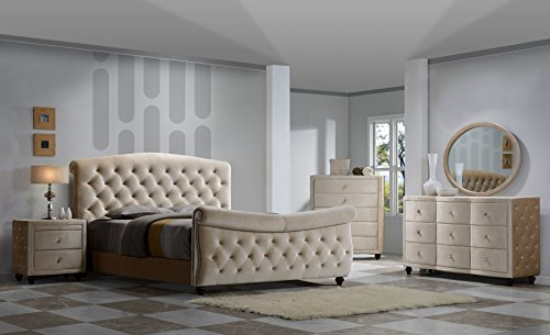Diamond Sleigh Bedroom Set King Size 6 pc. Bed, 2 Night Stands, Dresser, Mirror and Chest Diamonds Tufted ()