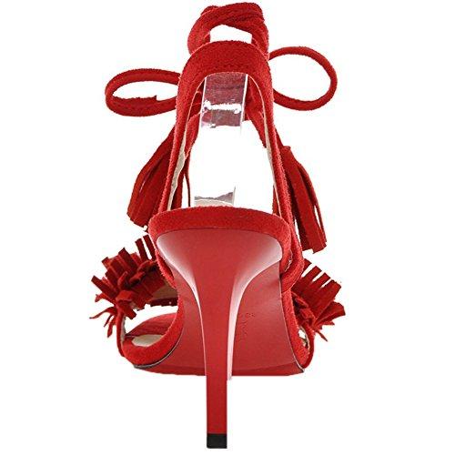 HooH Mujer Gamuza Peep Toe Lace up Zapatos de tacón talón abierto Flecos Sandalias Suela Roja Rojo