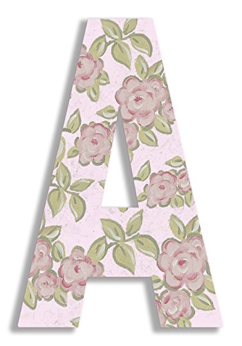 Stupell Home Décor Pink Roses on Pink 18 Inch Hanging Wooden Initial, 12 x 0.5 x 18, Proudly Made in USA ()