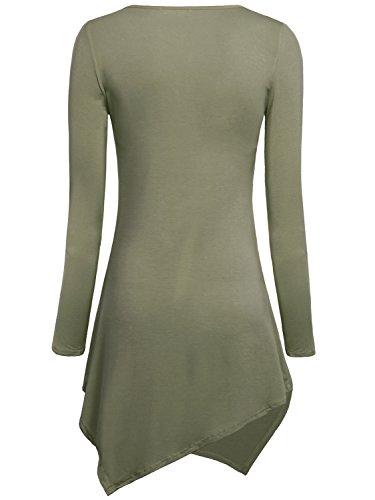 DJT Mujeres Asimetrica Camisa Blusa de Manga Larga Estilo Elastico Tunic Shirt Tee Verde Puro