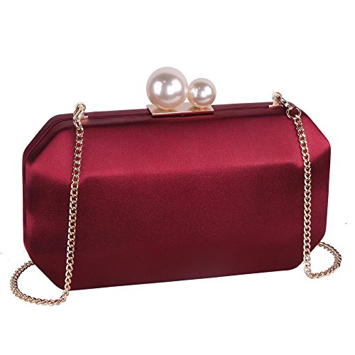 Wine Satin Clutch Purse Handbags with Pearls Closure for Women, Crossbody Hardcase Evening Bag with Strap Chain for Party (Evening Handbag Pearl)