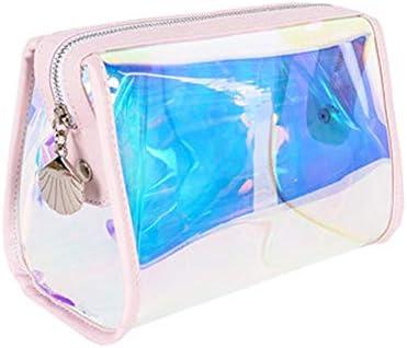 旅行化粧バッグ コスメティックバッグポータブル女性シンプルな透明ガールハート防水トイレタリーバッグ アクセサリー用コスメバッグ (色 : A, Size : 12x10x18cm)