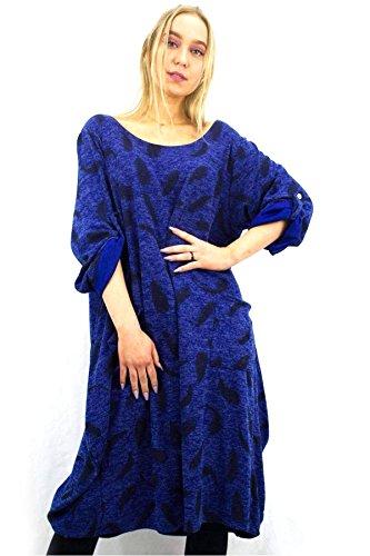 14 Signore Blu 21fashion Guardare 4 Stampa Maniche 8 Vestito Vestito Legen Reale Larghi Foglia Di Stampa Midi Foglia Womens 3 Sovradimensionato Midi BEEqZ