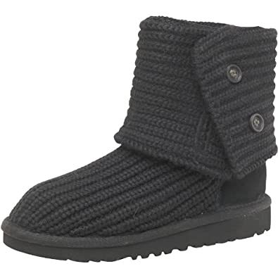 Kids Ugg Cardy Knit Boots Black Childs Junior (1 UK Junior 1 EUR 32 M&M