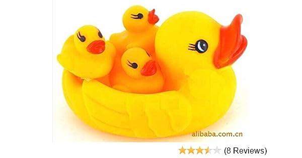 4PCS Baby Kids Bath Shower Toys Cute Yellow Floats Mom Duck Three Baby Ducks US