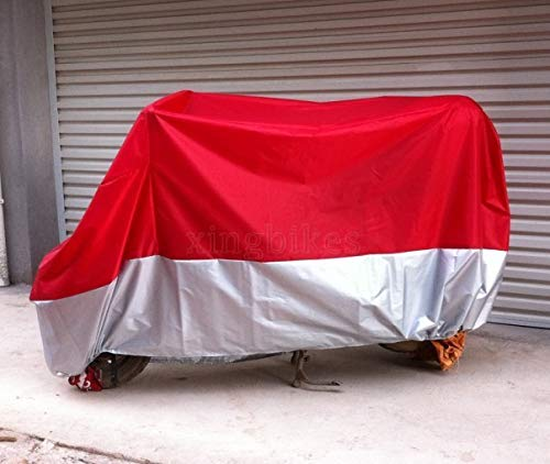 L Red & Silver Motorcycle Cover For Honda CBR600F2 CBR600F3 CBR600F4 CBR600F4i (Cbr600f4i Cover Motorcycle)