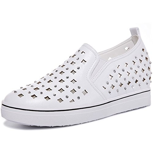 Toe Slip Sneakers Women Hole Inside Round Chic Shoes MAC Anti White U Increased Vamp 8YHwgqI