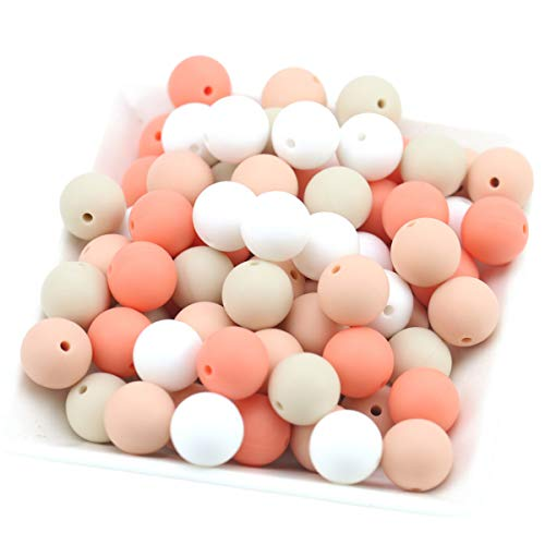 Baby Love Home Baby Silicone Teether Beads 100pcs 12mm DIY Jewelry Can Chew Beige Series Nursing Necklace Accessories