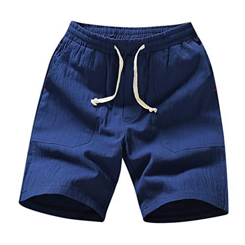 ZEFOTIM Shorts for Men 2019 Fashion Summer Casual Solid Pocket Drawstring Cotton Linen Short Pants(Blue,X-Large) (Best Kevlar Jeans 2019)