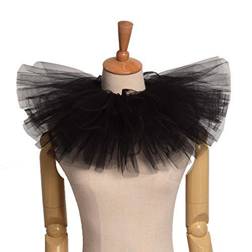 Collar Neck - Blessume Retro Neck Ruff Ruffle Collar, Black, One size