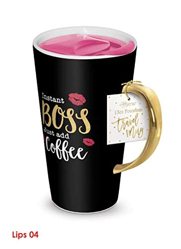 Lady Jayne 13oz Spill Proof Ceramic Coffee Travel Mug with Lid Series ... (Instant Boss)
