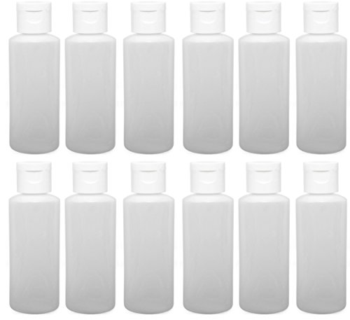 12 - 2-ounce Travel Bottles with Flip Caps (White Cap)