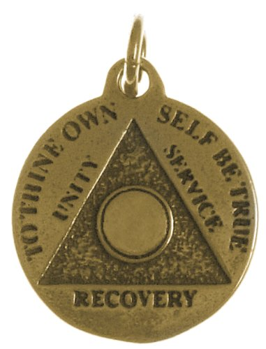 Alcoholics Anonymous AA Recovery Keepsake Mini Medallion, #894-5, Blank, Antiqued Brass Finish - Gold Finish Medallion Necklace