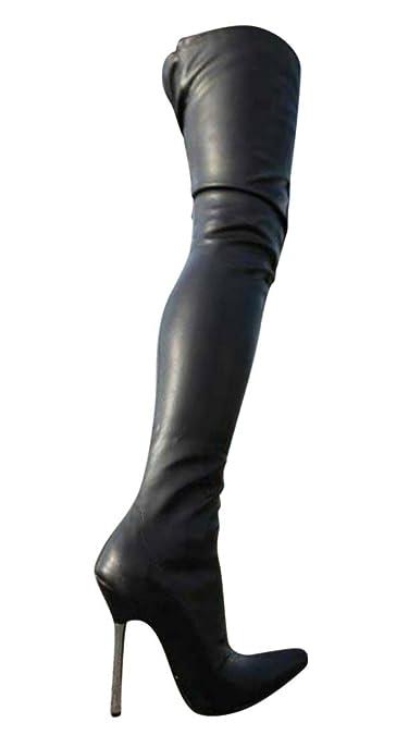 c148ba6d955 Erogance Cuissardes effet cuir Talons hauts Noir A10907L UE 36–46   Amazon.fr  Chaussures et Sacs