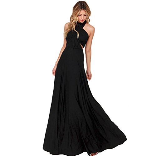 JET-BOND Infinity Night Dress Multi-Way Wrap Camisoles Halter Floor Long Dress High Elasticity FS41 (S, Black)