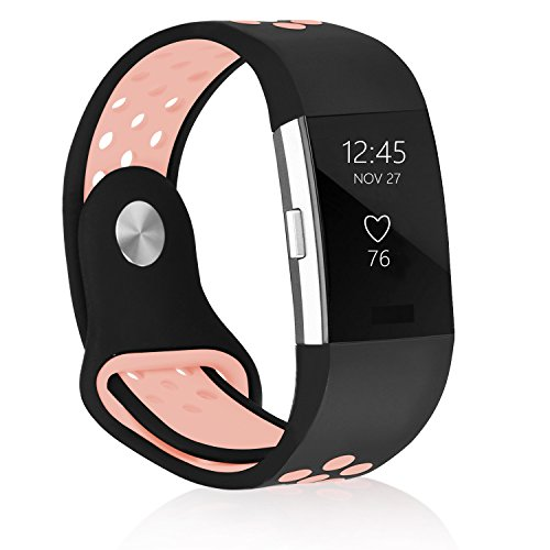 POY Fitbit Charge 2 Bands Soft Replacement bands for Fitbit Charge 2 HR Wristbands (Silicone Black Pink, S (for 5.5-6.7
