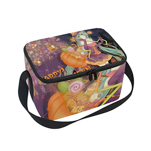 (Unique Anime Halloween Wallpaper Insulated Lunch Bag Tote Bag Cooler Lunchbox for Picnic School Women Men)