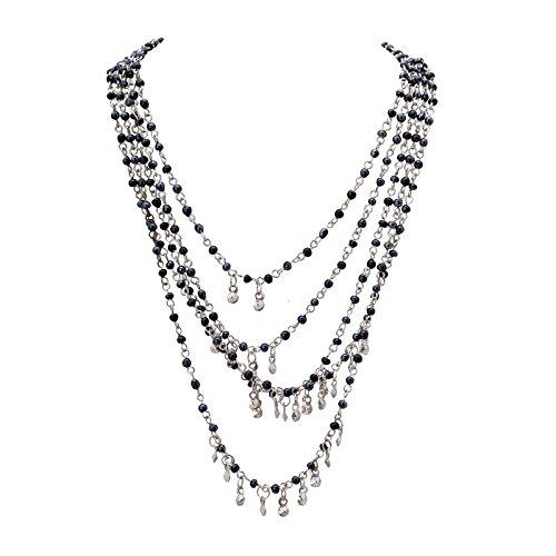 Ornamenta Necklace Black & Silver Hand Beaded Long Multi Strand Choker for Girl and Women