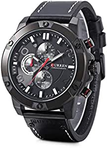 Curren 8285 Men's Analog Watch with Leather Strap Sports Watch - Black
