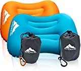 TheBigBlueMtn Ultralight Backpacking Inflatable Camping Pillow 2 Pack Set With Lightweight Compact Pouch