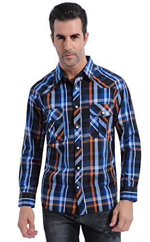 Coevals Club Men's Long Sleeve Casual Western Plaid Snap Buttons Shirt (L,5#orgnge,blue)