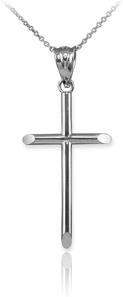 S-1.15 Religious Jewelry by LABLINGZ Polished 10K Solid White Gold Plain Tube Cross Baby Charm Pendant