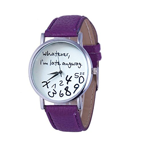 Womens Quartz Watches with Worlds,COOKI Unique Analog Fashion Clearance Lady Watches Female watches on Sale Casual Wrist Watches for Women,Round Dial Case Comfortable PU Leather Watch-H31 (Purple)