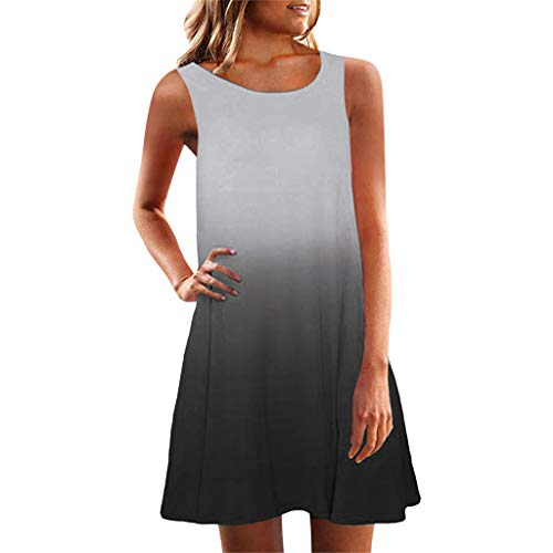 LIM&Shop  Summer Tank Dress Casual Mini Dress Sleeveless Gradient Top Crew Neck T-Shirt Knee-Length Skirt Skater Dress