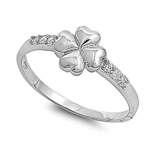 Sterling Silver Four Leaf Clover Heart Design Ring with Clear CZ Side Stones - size (Heart Design Ring)