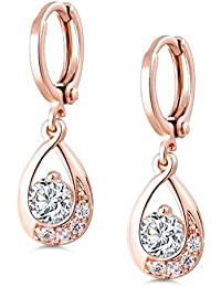 Leverback Dangle Earrings Clear Round Center Cubic Zirconia Rose Gold Electroplated