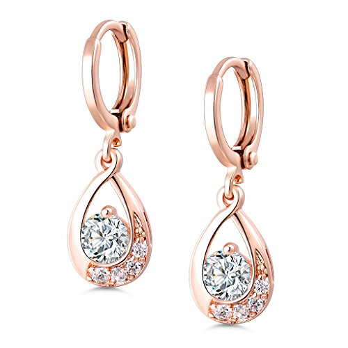GULICX Leverback Dangle Earrings Clear Round Center Cubic Zirconia Rose Gold Electroplated