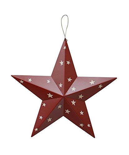 American Holiday Wall Decor Wall Barn Metal 3D Barn Stars (Red) Christmas Wall Sculptures