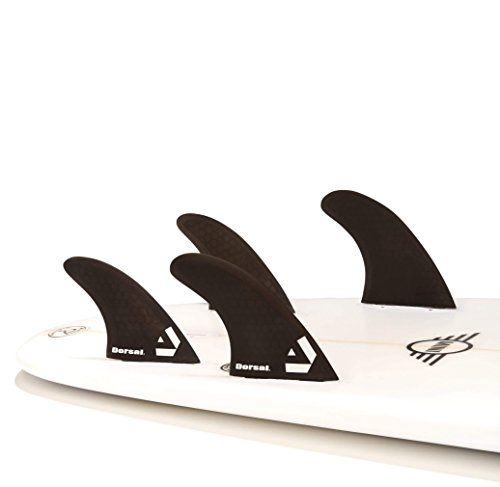 Dorsal Surfboard Fins Hexcore Quad Set (4) Honeycomb FCS Base Black by Dorsal