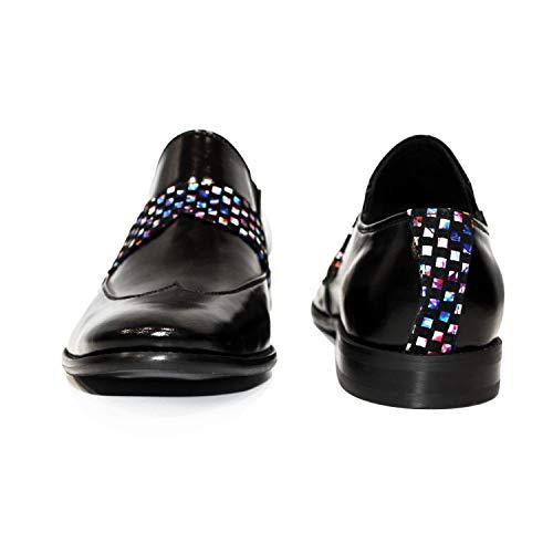 Cuero Bazinto Zapatos Modello Italiano Vestir Negro Oxfords Charol Cuero Hecho Piel Ponerse Hombre Mano A zd7qd