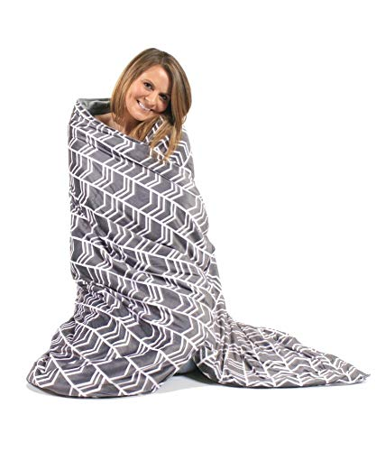 Cheap Hooga Weighted Anxiety Blanket 10 lbs for Adults and Kids with Premium Removable Cover | 2-Piece Set | Stylish Chevron Design - 41