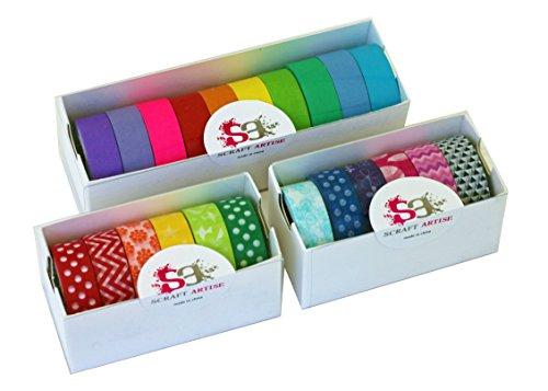 scraft-artise-22-rolls-of-washi-masking-tape-japanese-decorative-set-15mmx10m-approx-5-8x-33-10-brig