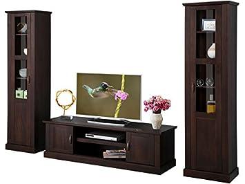 Wohnwand Wohnzimmer Set Anbauwand TV Lowboard Vitrine Landhaus