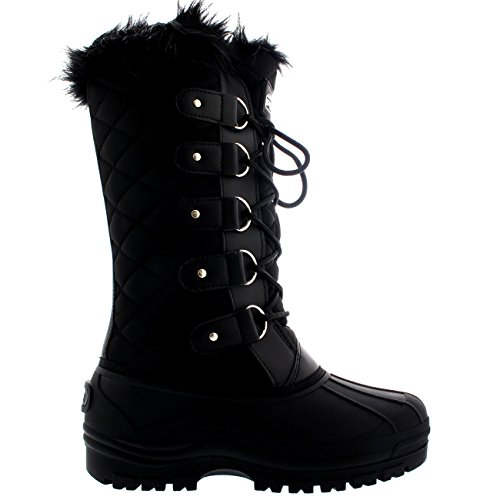 Quilted Polarr Mountain Knee Waterproof Womens Snow Tall Black Boots Walking Polar Tactical High nRwHfxRAq