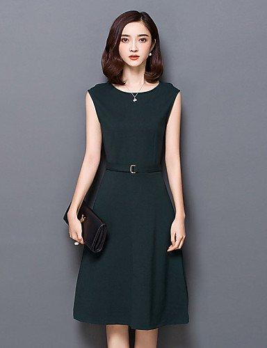 PU&PU Robe Aux femmes Gaine / Noir Vintage / Simple,Couleur Pleine Col Arrondi Mi-long Polyester , black-m , black-m